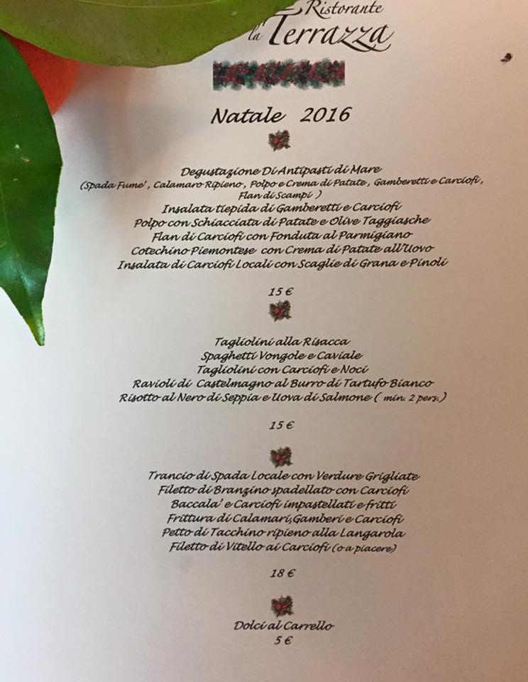 Christmas Menu @Ristorante Pizzeria La Terrazza @Santo Stefano al Mare