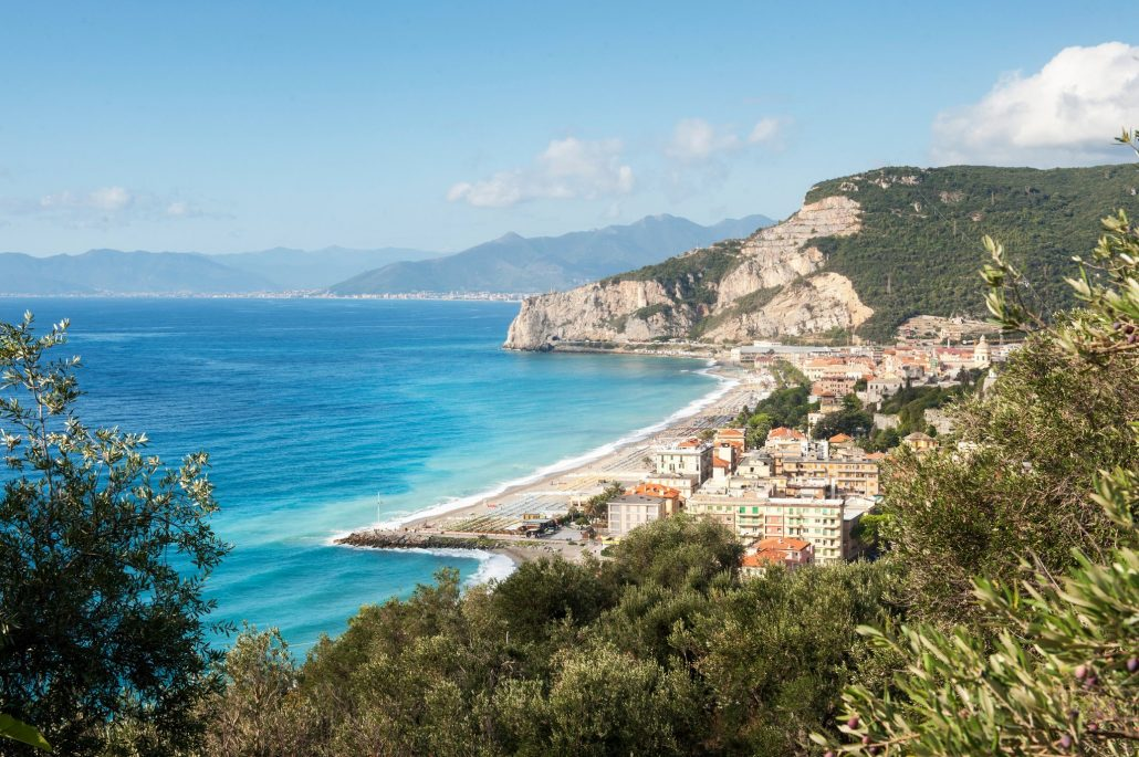 View from olive groves overlooking Finale Ligure and the coastline toward San Remo. Credit Susan Wright for The New York Times