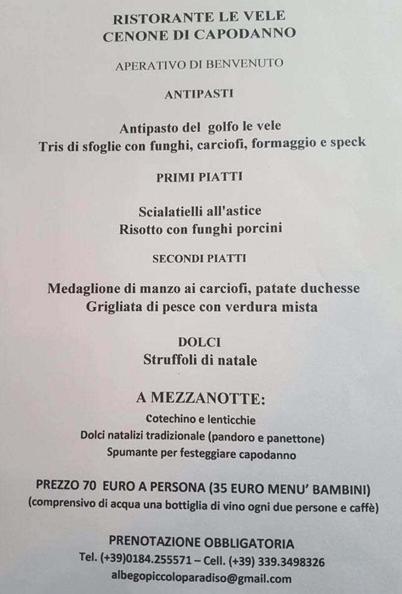 New Year\'s Eve dinner @Ristorante Pizzeria Le Vele @Vallecrosia